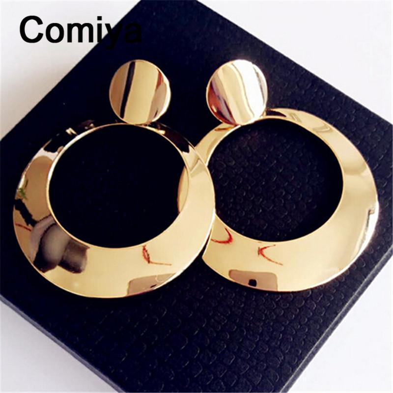 Big gold colors long boucle d'oreille femme pendientes largos orecchini donna fashion zinc alloy aros circle dangle earrings(China (Mainland))
