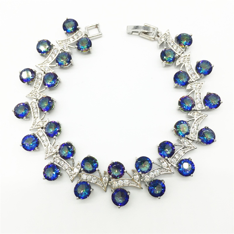 Blue Rainbow Mystic & White Topaz Sterling Silver Overlay Link Chain Bracelet 7 inch Free Shipping(China (Mainland))