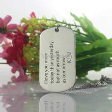 Custom Letter Dog Tag Necklace Love you more Necklace Titanium Steel Couple Name Pendant Anniversary Gift(China (Mainland))