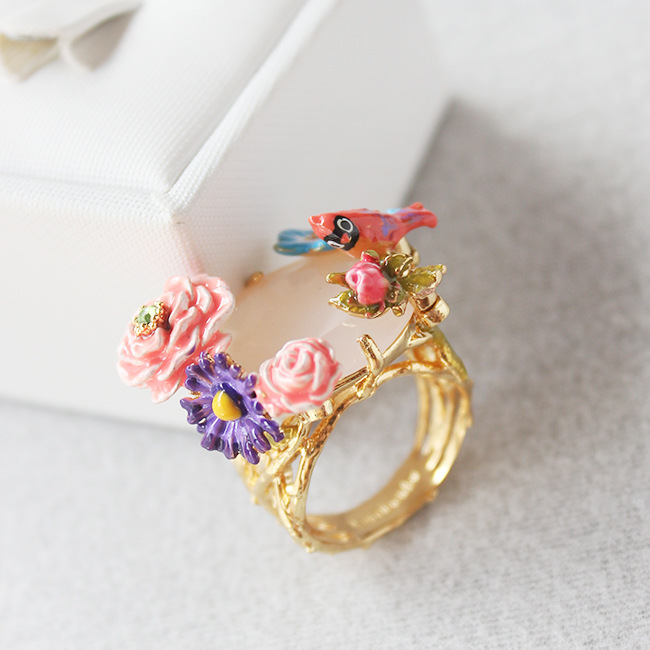Les Nereides France brand flowers gem bird ring for women new arrival high quality luxury noble party jewelry(China (Mainland))
