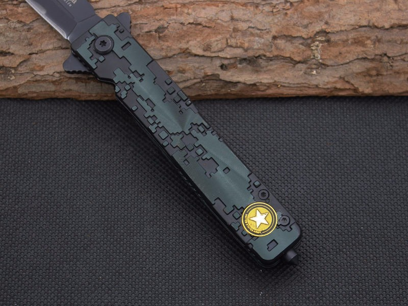 Buy Flame grain Survival Knife Steel Blade Aluminum alloy Handle Pocket Folding Knifes Hunting Tactical Knives Camping Outdoor Tools cheap