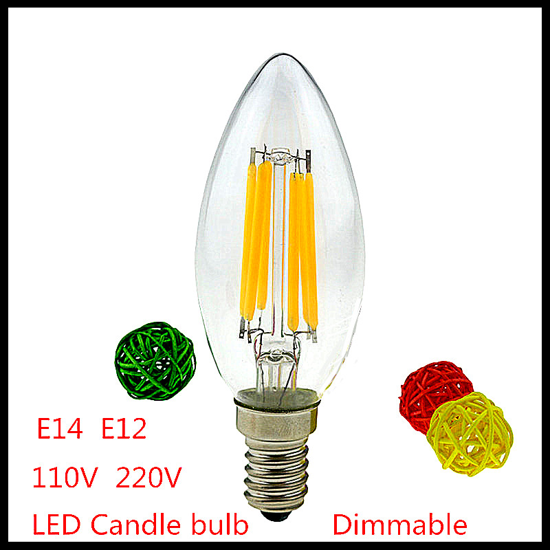 2015 4W 6W 9W E14 E12 220V 110V AC dimmable C35 LED Filament Candle Bulbs lamp light warm/cold white Chandelier crystal lamp(China (Mainland))