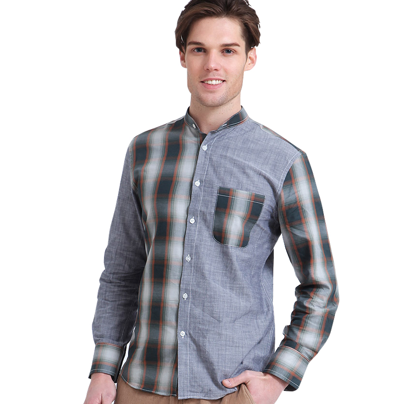 Lesmart Mens Shirt Cotton Fashion Business Casual British Style Solid Plaid Patchwork Long Sleeve Twill Dress Camisas Masculina - Qingdao Textile Co., ltd store