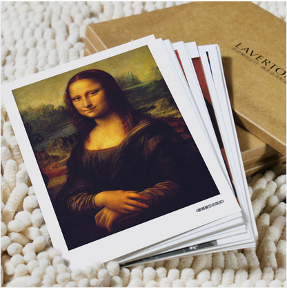 [LAVERTON]Postcard set/ Christmas Greeting Cards - Famous Oil Painting of Da Vinci Picasso Van Gogh 16 pcs Free shipping(China (Mainland))