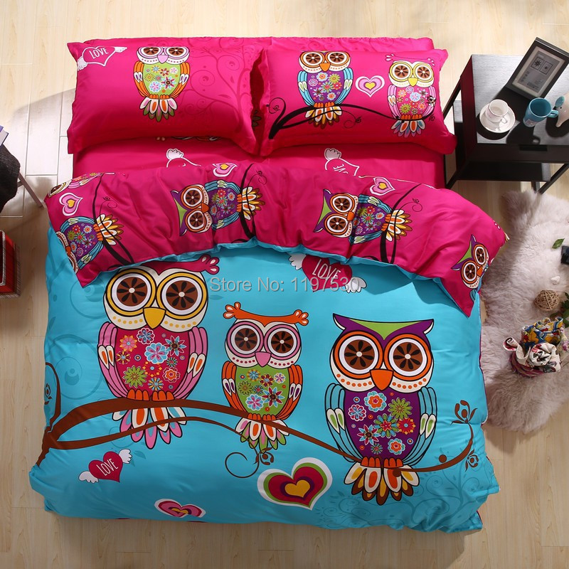 Free shipping! New Design owl/leopard/deer/frog comforter set,3/4pcs children cartoon bedding set without the filler,bedlinen(China (Mainland))