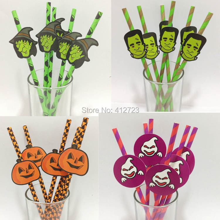 Paper Straw Party Supply Paper Drinking Straws wholesale Halloween Creative Party Straws Kids DIY Crafts Supplies Free shipping(China (Mainland))