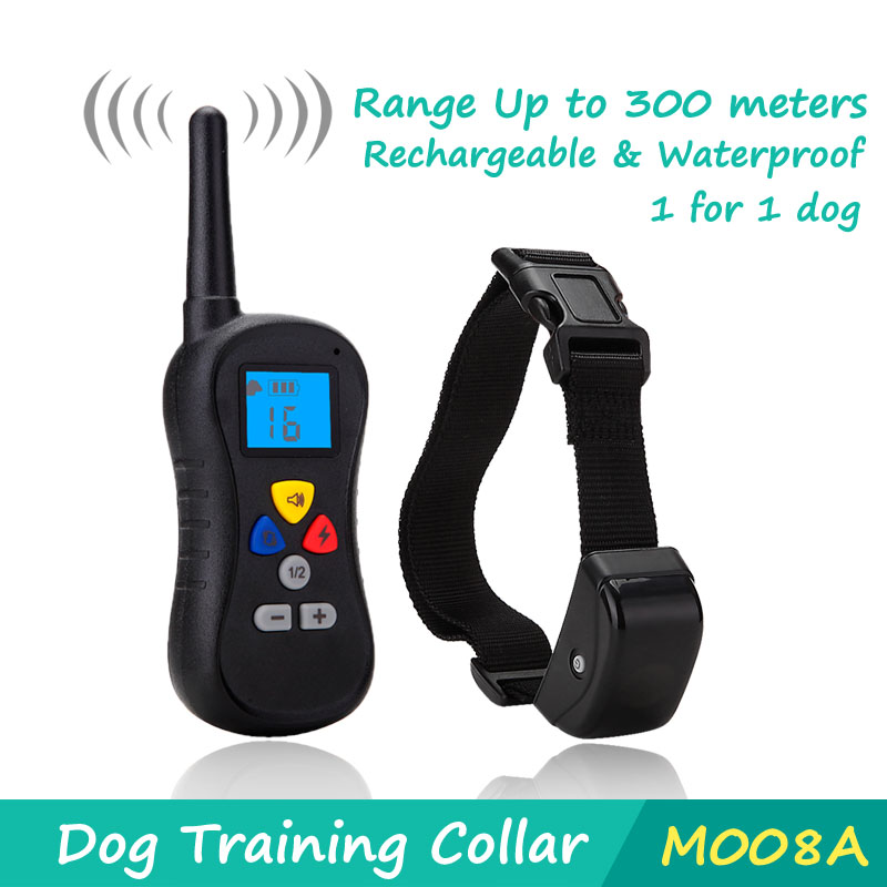 Weatherproof Dog Training Collar with Amber LCD Remote - Vibration / Static Shock / Tone Training Stimulations for All Dogs(China (Mainland))