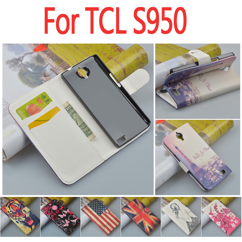 Carton Flip Wallet Case for Alcatel One Touch Idol X TCL S950 6040 6040A 6040D ID Card Holder and Stand Function 7 Colors(China (Mainland))