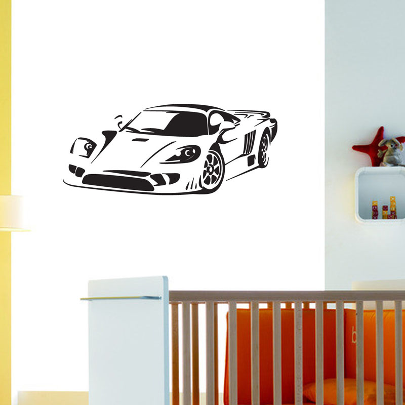 Cool Roadster Wall Sticker Boys Room Decorative Vinyl