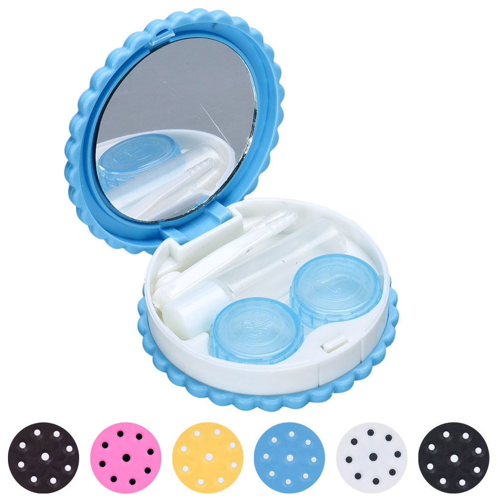 Cartoon Cute Pocket Mini Contact Lenses Case Travel Kit Easy Carry Mirror Container Holder lentes de contacto For Eyes Care Kit