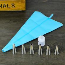 Envío gratis 1x longitud de silicona Icing Piping crema pastelera bolsa + 6x boquilla de acero inoxidable Set decoración de pasteles herramienta 4 [ N1029_S ](China (Mainland))