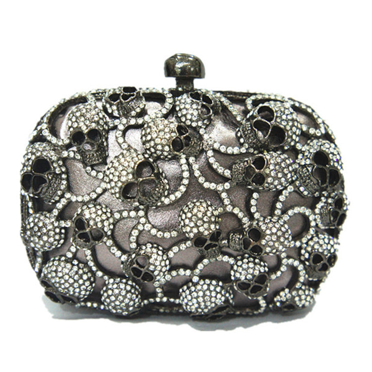 YiCai 2015 hot Skull Purses And Handbags For Women Crystal Clutch Genuine Leather lining Evening Bag Arts and crafts collection(China (Mainland))