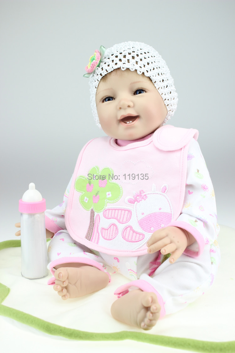 "Smiling 22"" Handmade Silicone adora Lifelike Bonecas Bebe Reborn sexy Baby doll for child gift wtih free feeder doll reborn(China (Mainland))"