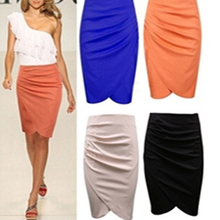 4 colors summer women bodycon pencil skirt sexy high waist women OL knee length pleated party skirt women clothing