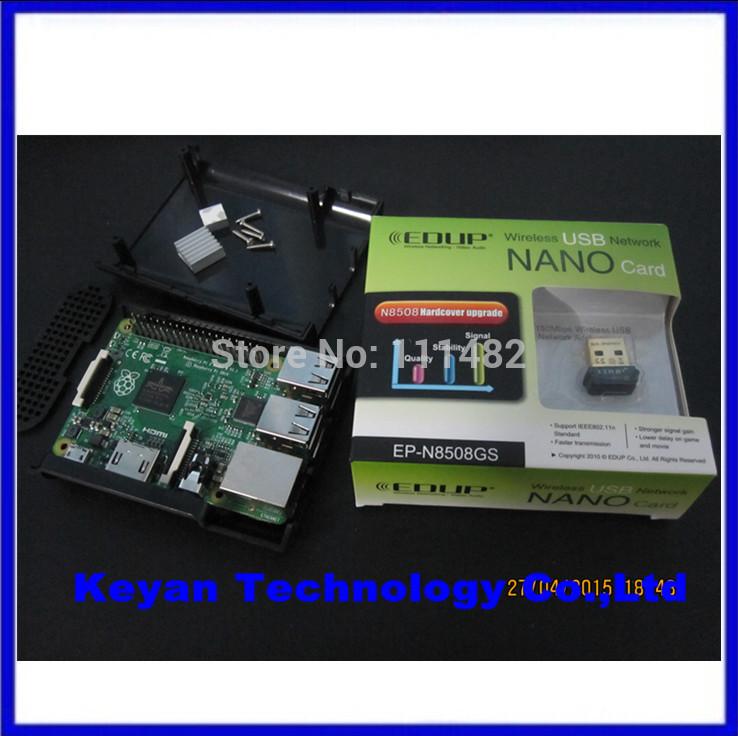 2015 New&Original Raspberry Pi 2 Model B Broadcom BCM2836 1G RAM + Black Pi Case Box + Heatsinks + EDUP EP-N8508GS WIFI Adapter(China (Mainland))