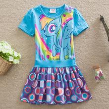 Summer Dress Girls 2015 Dresses My Little Ponys Fancy Dots Tutu Children Wear Princess Cartoon Girl Children's Clothes B00345