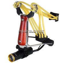 Powerful Stainless Slingshot Outdoor Hunting Catapult Wrist Support Launcher with Flashlight Free Shipping