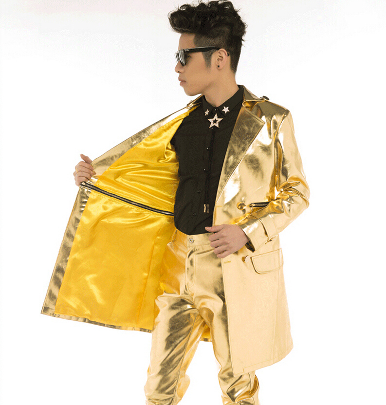 2015 mens fashion gold leather long jacket Dj male performance wear star style male singer DJ nightclub  costume gold outerwearОдежда и ак�е��уары<br><br><br>Aliexpress