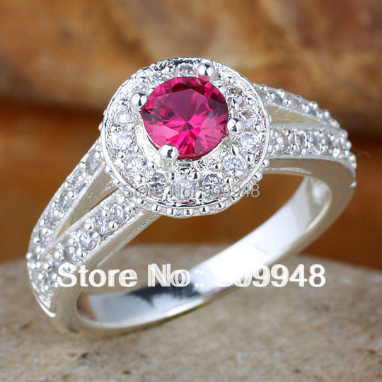 Women Simulated Diamond Green Emerald Red Ruby Purple Pure Finger 925 Sterling Silver Ring WEDN R130