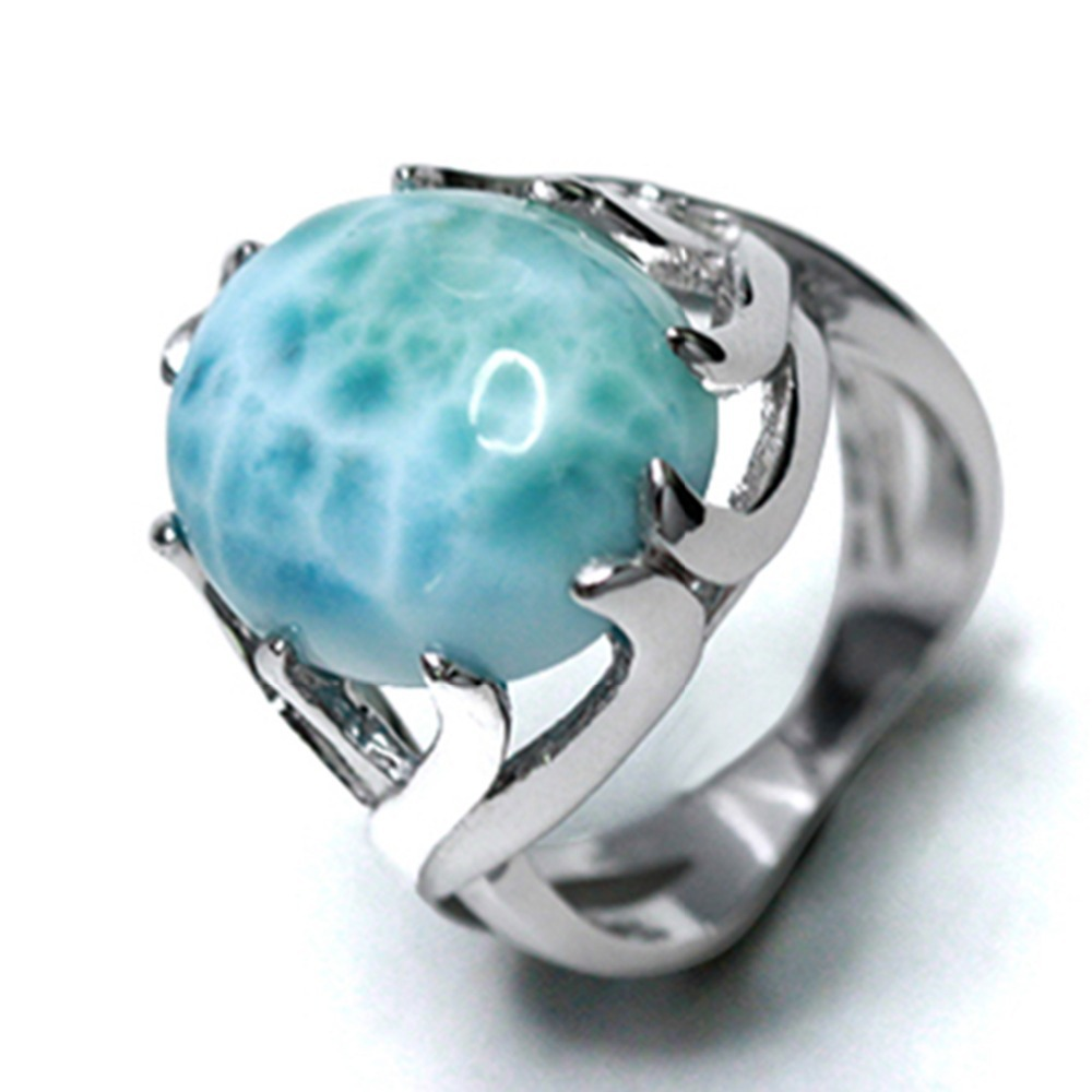 natural larimar jewelry , 925 sterling silver ring , blue stone and beautiful design(China (Mainland))