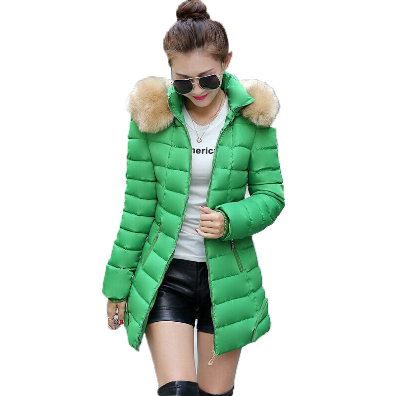 M-3XL Plus Size Women Winter Jacket Large Fur Collar With Hooded Wadded Jacket Down Jacket Cotton-Padded 2015 New Design DY405