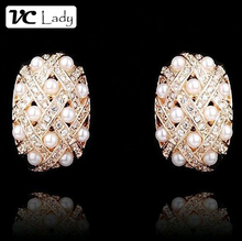 Gold Boucle D'oreille Rhinestone Pearl stud Earrings Fashion Jewelry for Women Wedding from india bohemian femme pendante(China (Mainland))