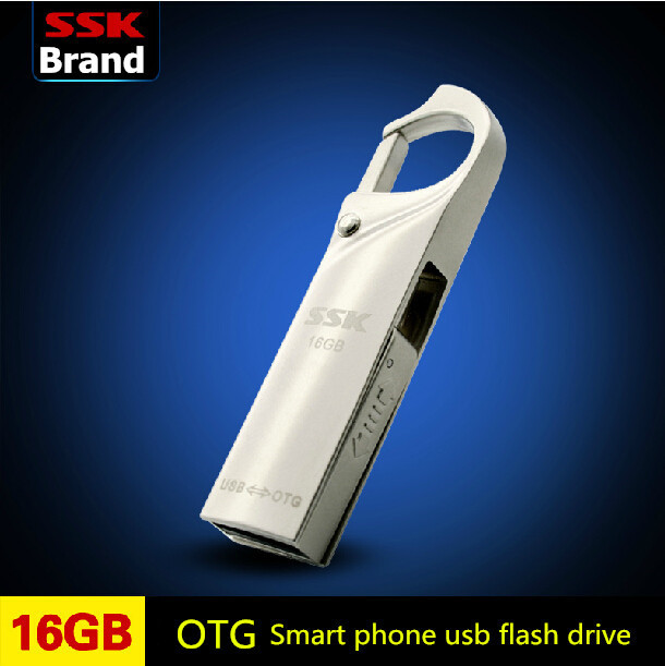 SSK SFD256 OTG USB 100% 16GB USB Flash Drives Smartphone Pen Drive Micro USB Portable Storage Memory Metal USB Stick(China (Mainland))
