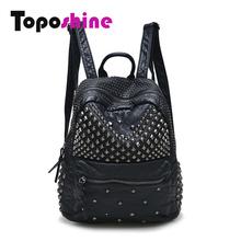 Toposhine Women Backpacks Washed Leather Backpacks Lady Girls Travel Women Bags  Rivet Backpacks Student School Bag Hot 15-107(China (Mainland))