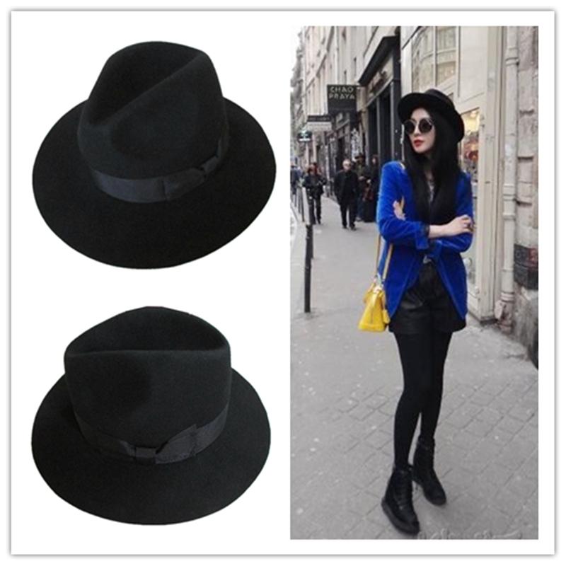 Black Women's Wool Felt Fedora Hat(China (Mainland))