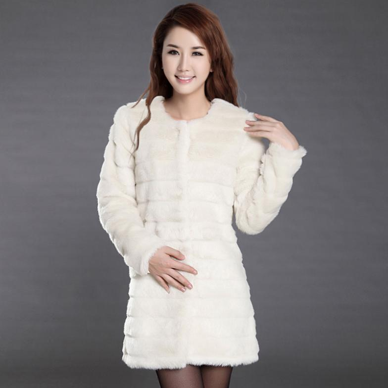 2014 Medium-long women's winter faux rabbit fur coat vest short design female overcoat new fashion outerwear trench - China vead processing trade limited company store