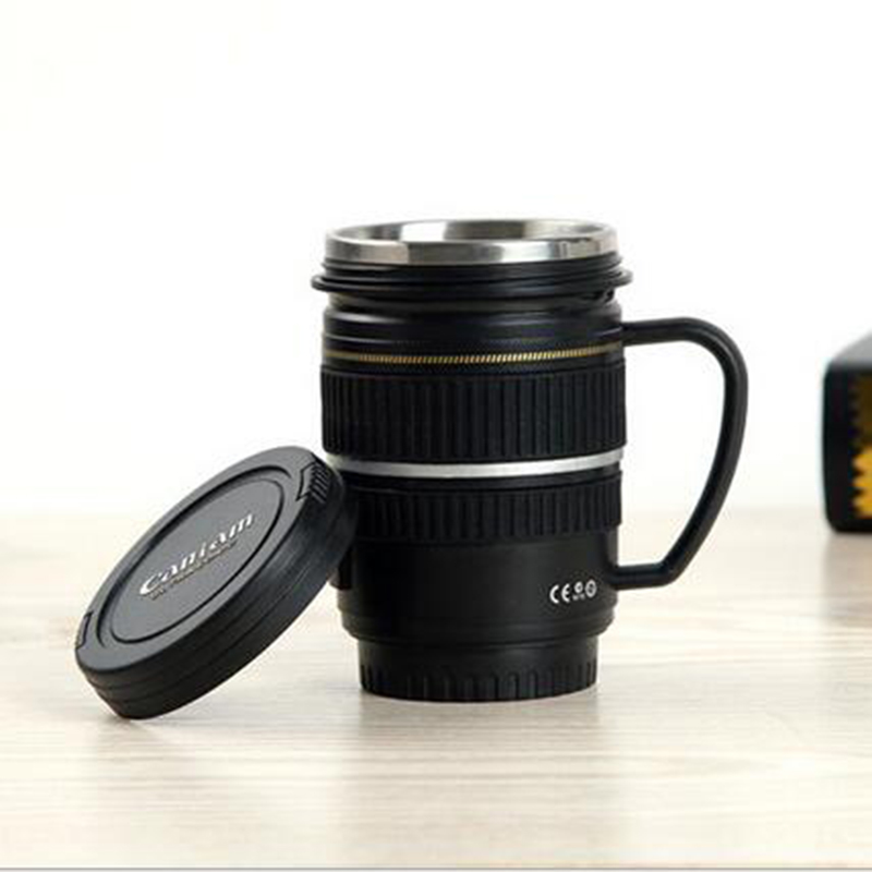 400ml Water Bottles Stainless Steel SLR Camera EF 100mm Cup Drink Coffee Lens Mug Cup 1:1 Scale Thermal Mug Creative Gift Black(China (Mainland))