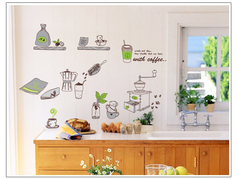 creative 1 unit kitchen utensils cook charactor wall parede diy removable vinyl wall stickers tv wall safa background *%(China (Mainland))