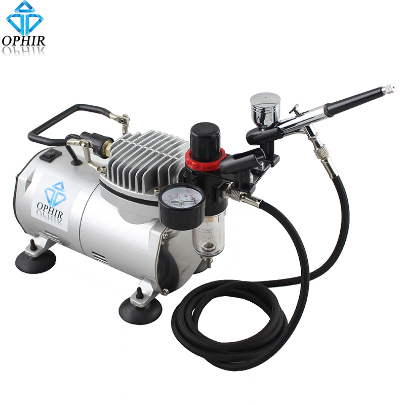 OPHIR Dual-Action Airbrush Kit Air Compressor 110V/220V With Filter Holder For Car Cake Body Paint Hobby Makeup Set_AC089+AC004(China (Mainland))