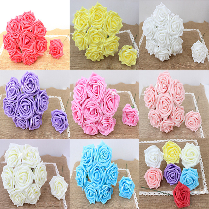 2015 New 1pack 7Pcs 8cm Multicolor Artificial Foam Rose Flower Handmade DIY Wedding Home Party Craft Home Decoration Free y657(China (Mainland))