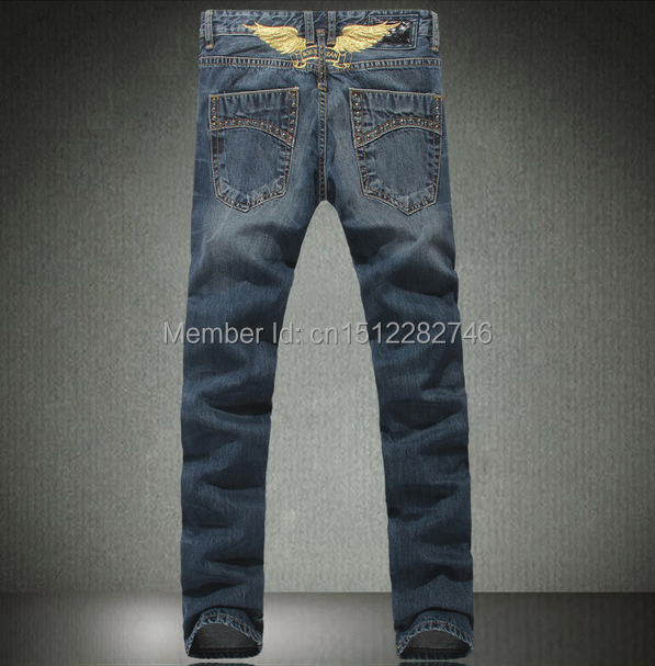 Style 2014 robin jeans men pants jean Slim Straight Jeans cowboy high fashion designer famous brand mens blue - Top stores store