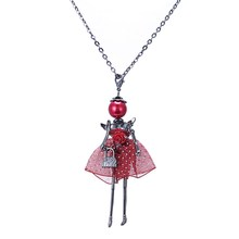 New doll Pendant Necklace Jewelry sales girl female charm jewelry retail Angel wings pendant necklace women gift free shipping(China (Mainland))