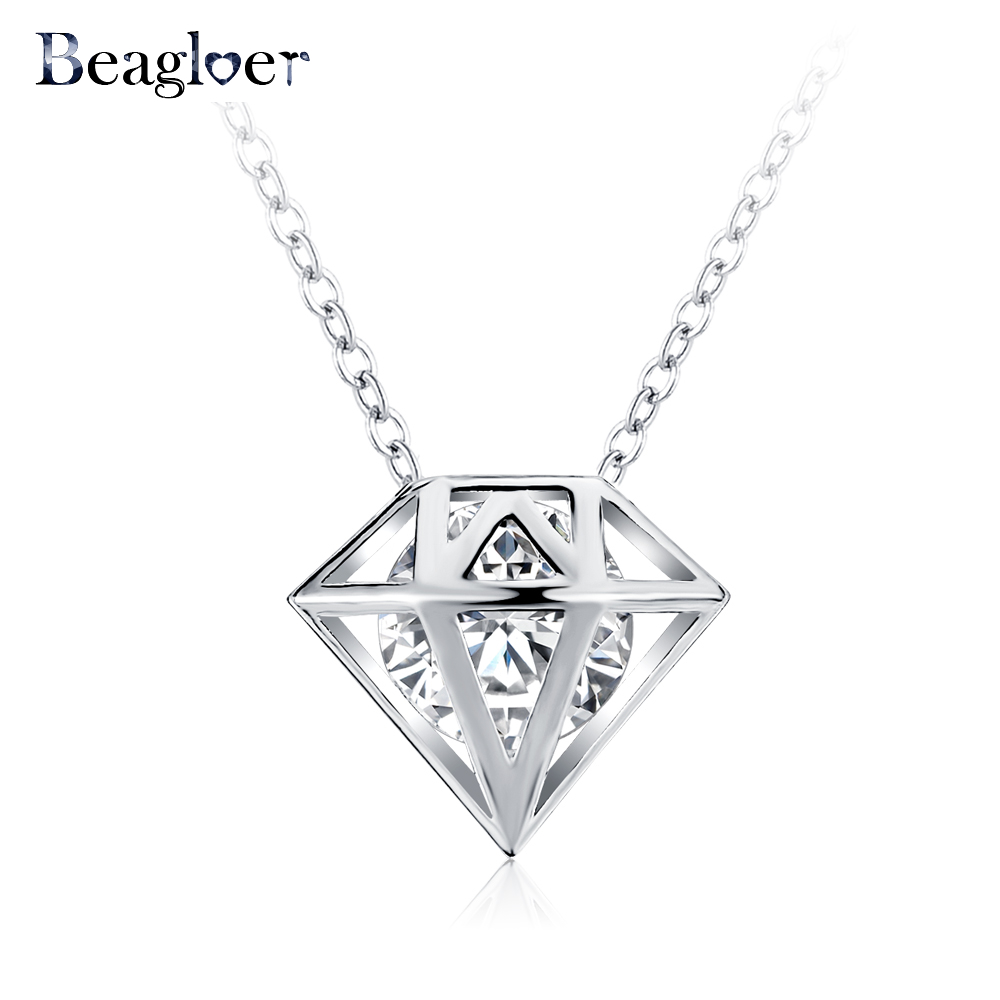 Beagloer New Hollow Shaped Pendant & Necklace Rose Gold Plated Created Diamond Necklace Fashion Mujer Jewelry CNL0228(China (Mainland))