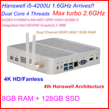 Free shipping fanless mini pc with Intel Core i5 4200U 2.6Ghz CPU 4K 1080P Haswell SOC design aluminum chassis with 128G SSD