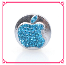 arrive 1 blue crystal apple snap buttons charms metal button fit diy bracelet jewelry - Cara's Shop For DIY Jewelry store
