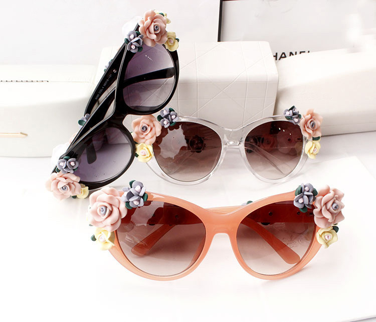 Fashion Summer Wind Beach rose sun glasses,handmade ceramic flower sunglasses oculos UV400 Wholesale free shipping(China (Mainland))