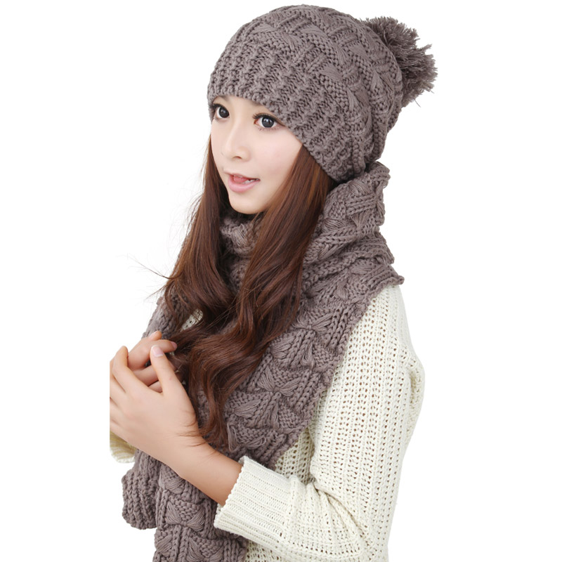 2015 knitted scarf and hat suite set winter