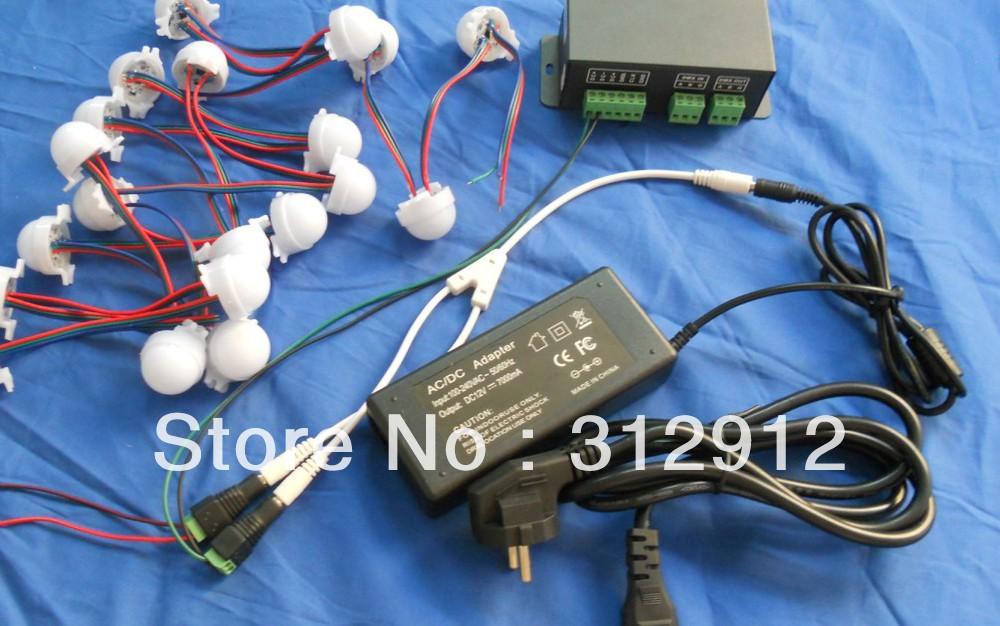 Фотография 40pcs 30mm milky WS2811 pixel module kit,with dmx-spi convertor,12V/85W power adaptor