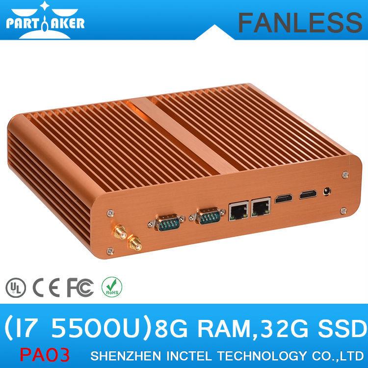 Mini ITX Casing HTPC Fanless BroadWell fifth generation i7 5500u with dual HDMI dual com dual lan sd card reader(China (Mainland))