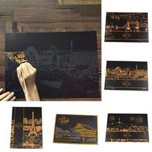 Night View Famous City Drawing Scratch Painting Paper with Gold Scratch Pen(China (Mainland))