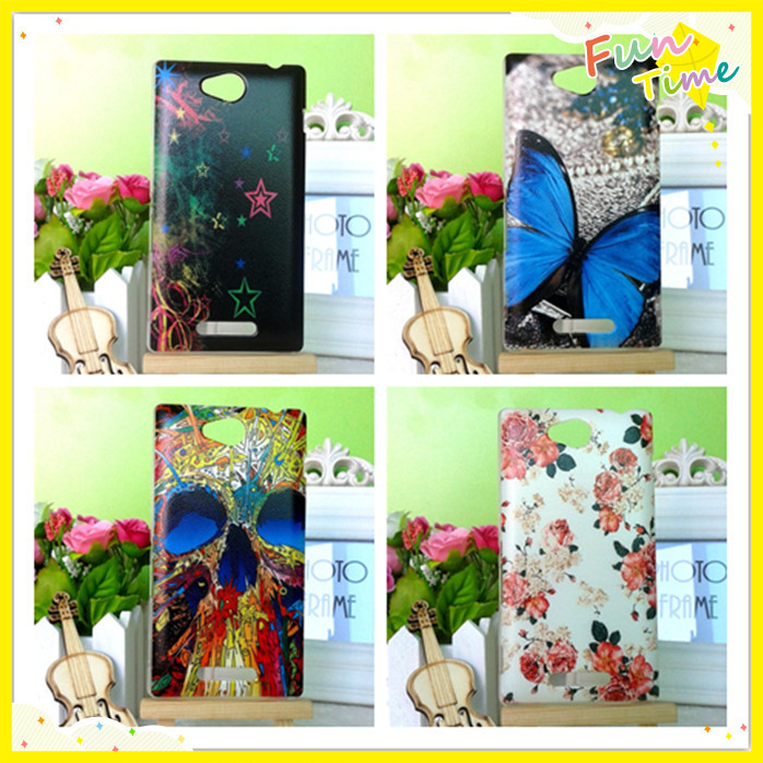 Transparent Side Painting Hard PC Plastic Phone Case Sony Xperia C S39h C2305 Back Cover - HUNGKUANG (HK store CO.,LTD)