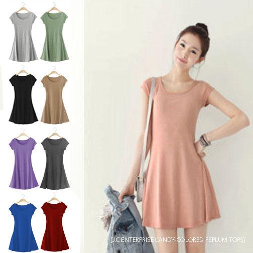 2015 NEW fashion women plus size summer black pink green khaki purple deep-grey grey blue red short sleeve flare peplum tops(China (Mainland))