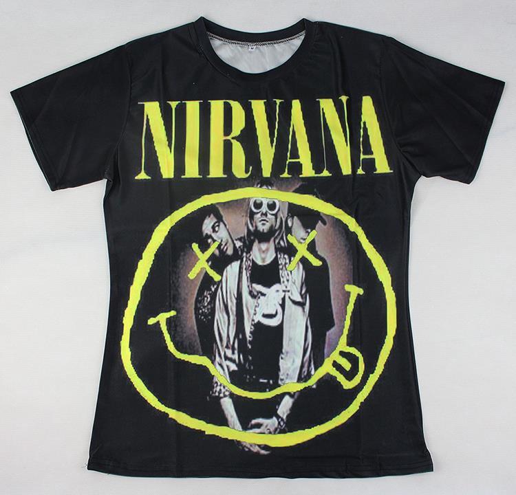 2015 harajuku 3d printed t-shirt Nirvana rock group tshirt women/men hip hop streetwear short tees(Hong Kong)