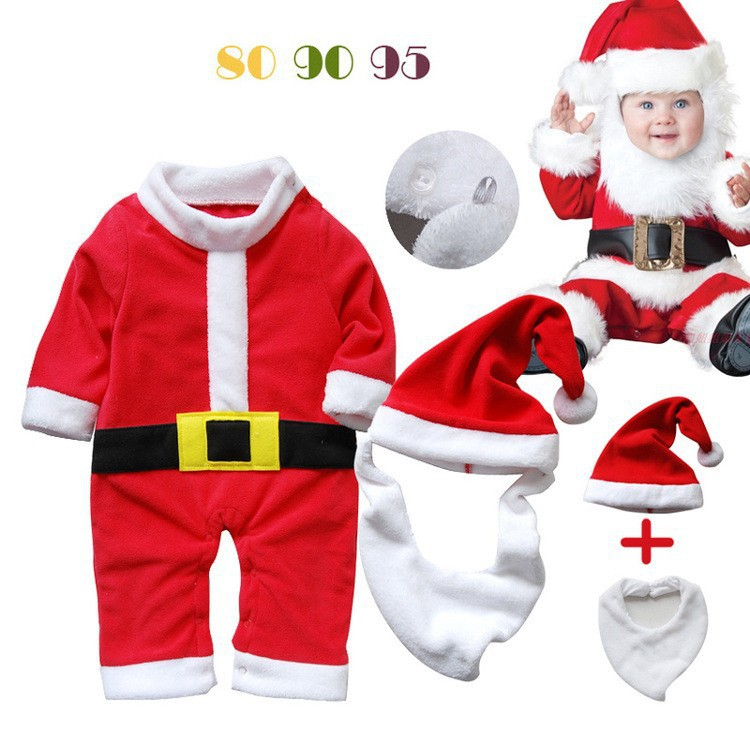 Baby Romper Santa Claus Long Sleeve Baby Rompers Infant Christmas Costume 3 pcs Newborn Toddler Red Winter Warm Outfits