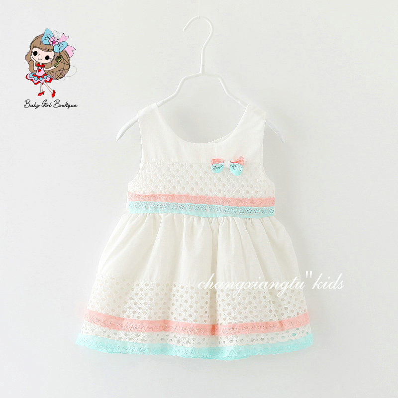 NEW 2015 Vintage Baby Dress, Pink&Blue Gingham Baby Dress With Matching Bow, Girl Gift, Girl OUTFIT Sundress Baby Girl Clothes(China (Mainland))
