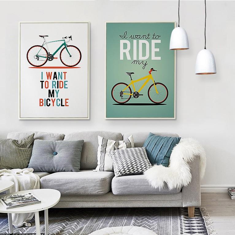 Fiets muur art promotie winkel voor promoties fiets muur art op - Moderne kamer volwassen schilderij ...
